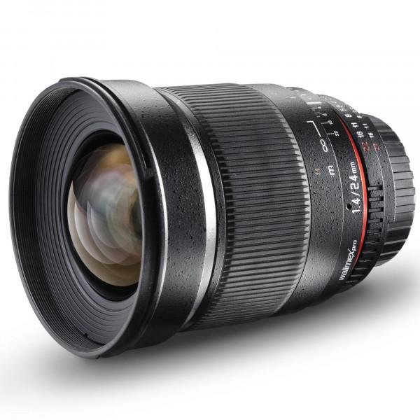 Walimex Pro 24mm 1:1,4 DSLR-Weitwinkelobjektiv (Filtergewinde 77mm, IF, AS und ED-Linsen) für Canon EF Objektivbajonett schwarz-310