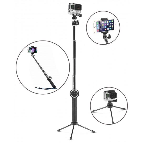 """Supremery SupPole Q4 Erweiterbarer Selfie Stick Pole Selfiestange Stativ / Einbeinstativ mit Bluetooth Selbstauslöser + Dreibein Standfuß für GoPro Hero, Hero 4/3+/3/2/1 hd Kameras and Kompaktkameras mit 1/4"""" Gewindebohrung and Smartphones, mit Handy-Halter +-38"""