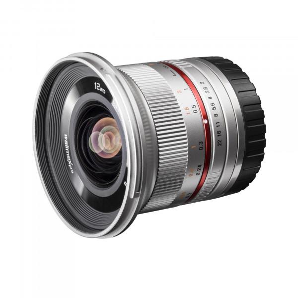 Walimex Pro 12 mm 1:2,0 CSC-Weitwinkelobjektiv für Samsung NX Objektivbajonett silber-39