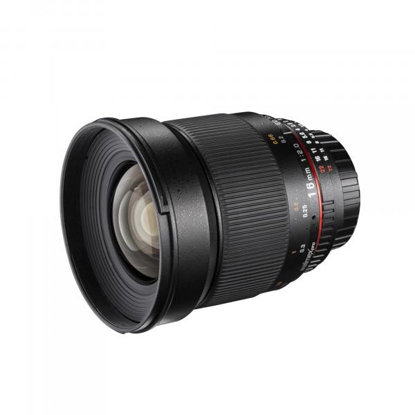 Walimex Pro 16mm 1:2,0 CSC-Weitwinkelobjektiv (Filtergewinde 77mm, Gegenlichtblende, großer Bildwinkel, IF) für Samsung NX Objektivbajonett schwarz-310
