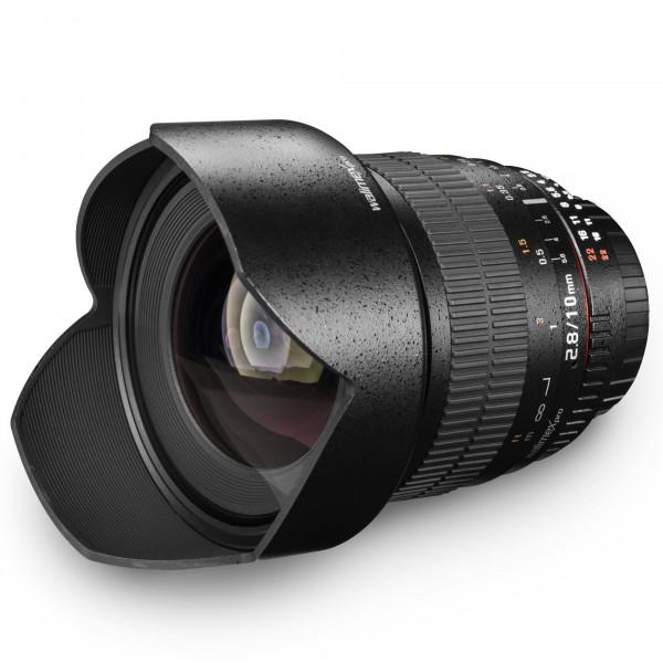 Walimex Pro 10mm 1:2,8 DSLR-Weitwinkelobjektiv (inkl. Gegenlichtblende, IF, für APS-C) für Nikon AE Objektivbajonett schwarz-39