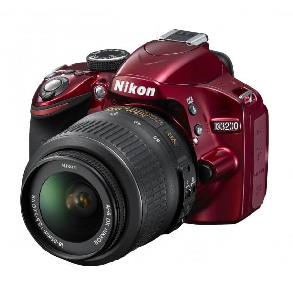 Nikon D3200 SLR-Digitalkamera (24 Megapixel, 7,4 cm (2,9 Zoll) Display, Live View, Full-HD) inkl. AF-S DX 18-55 VR rot-312