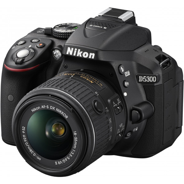 Nikon D5300 SLR-Digitalkamera (24,2 Megapixel, 8,1cm (3,2 Zoll) LCD-Display, Full HD, HDMI, WiFi, GPS, AF-System mit 39 Messfeldern) Kit inkl. AF-S DX 18-55 VR II Objektiv schwarz-313