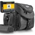 KIT Mantona Premium System Tasche schwarz + PATONA Akku für CANON LP-E10 Für CANON EOS 1100D 1200D-20
