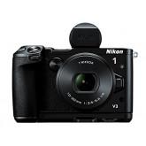 Nikon 1 V3 Systemkamera (18 Megapixel, 7,5 cm (3 Zoll) TFT-Display, Eletronischer Bildstabilisator, Full-HD-Videofunktion, USB) Kit inkl. 10-30mm Objektiv, Elektronischer Sucher und Handgriff