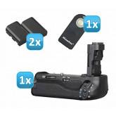 Profi Batteriegriff für Canon EOS 70D wie der BG-E14 - für 2x LP-E6 und 6 AA Batterien + 2x LP-E6 Nachbau-Akkus + 1x Infrarot Fernbedienung!