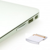 "MicroSD to SD Adapter für MacBook Air 13 Zoll / Pro 13 und 15 Zoll Speicher Erweiterung MicroSD Memory Card Adapter for MacBook Air 13"" / Pro 13"" / Pro 15"", White with Silver edge ..."