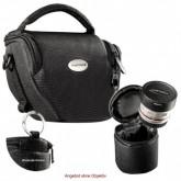 MANTONA VARIO DUO schwarz kompakte System Kameratasche mit Schultergurt und separatem OBJEKTIVKÖCHER