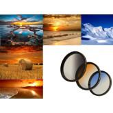 3er Verlaufsfilter Set (Blau, Grau, Orange) für Digitalkameras - Filterdurchmesser 77mm - Inkl. passendem Filtercontainer