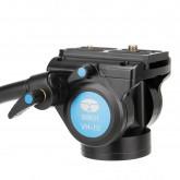 Sirui VH-10 Fluid Videoneiger/Videokopf mit Schnellwechselplatte 90mm (flache Basis, Arm verlängerbar, Aluminium) schwarz