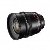 Walimex Pro 16mm 1:2,2 VDSLR Video und Foto Weitwinkelobjektiv (Filtergewinde 77mm, Gegenlichtblende, Zahnkranz, stufenlose Blende und Fokus) für Canon EF-S Objektivbajonett schwarz