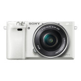 "Sony Alpha 6000 Systemkamera (24 Megapixel, 7,6 cm (3"") LCD-Display, Exmor APS-C Sensor, Full-HD, High Speed Hybrid AF) inkl. SEL-P1650 Objektiv weiss"
