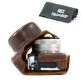 MegaGear Leder Kameratasche für Panasonic Lumix DMC-GF7 mit 12-32mm Kompakte Systemkamera (Dunkelbraun)