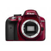 Nikon D3300 SLR-Digitalkamera (24 Megapixel, 7,6 cm (3 Zoll) TFT-LCD-Display, Live View, Full-HD-Videofunktion) nur Gehäuse rot