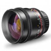 Walimex Pro 85mm 1:1,5 VDSLR Video- und Fotoobjektiv (Filtergewinde 72mm, Zahnkranz, stufenlose Blende und Fokus, IF) für Nikon F Objektivbajonett schwarz