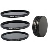 Neutral Graufilter Set bestehend aus ND8, ND64, ND1000 Filtern 72mm inkl. Stack Cap Filtercontainer + Pro Lens Cap mit Innengriff