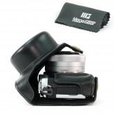 MegaGear Leder Kameratasche für Panasonic Lumix DMC-GF7 mit 12-32mm Kompakte Systemkamera (Schwarz)