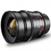 Walimex Pro 24 mm 1:1,5 VDSLR Foto- und Videoobjektiv (inkl. Filtergewinde 77mm, Gegenlichtblende, Zahnkranz, stufenlose Blende und Fokus) für Nikon F Objektivbajonett schwarz
