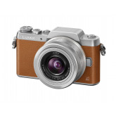 Panasonic DMC-GF7 Lumix Kamera Kit mit H-FS 12-32 mm Objektiv braun/silber