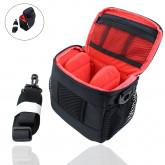 Smart-Planet® hochwertige und kompakte Systemkamera Kameratasche (auch kleine DSLR Kamera) viele Fächer - inkl. Regenhülle Kamera Tasche schwarz