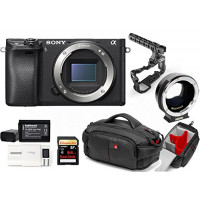 Kit Sony Digital Camera Alpha a6300 Mirrorless Digital Camera + Metabones Adapter EF to Emount MB EF-E-BT4 + Memory Card Sandisk 64GB + Cage 8Sinn with Handle + Bag CC-191 + 2 Batteries HL XW50 + 1 Battery Charger-21
