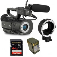 Kit Camcorder GY-LS300 JVC 4K Ready CMOS super35 Ultra HD 24/30p 150Mbps + 1 Battery + 1 Memory Card Sandisk 64Gb 95Mb + Adapter AF Canon EF Sony E-Mount-21