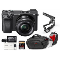 Kit Sony Digital Camera Alpha a6300 Mirrorless Digital Camera + Lens 16-50mm + Memory Card Sandisk 64GB + Cage 8Sinn with Handle + Bag CC-191 + 2 Batteries HL XW50 + 1 Battery Charger-21