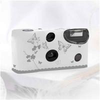 Einwegkameras / Einwegfotos in weiß mit silbernen Schmetterlingen Inhalt pro Packung: 10 Stück Hochzeitskameras-21