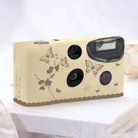 Einwegkameras / Einwegfotos in Creme mit goldenen Schmetterlingen Inhalt pro Packung: 10 Stück Hochzeitskameras-21