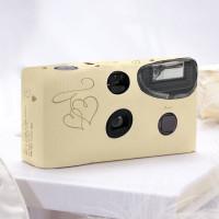 Einwegkameras / Einwegfotos in Creme mit goldenen Herzen Inhalt pro Packung: 10 Stück Hochzeitskameras-21