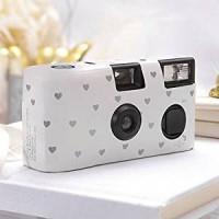 Einwegkameras / Einwegfotos in weiß mit kleinen silbernen Herzen Inhalt pro Packung: 10 Stück Hochzeitskameras-21