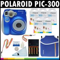 Polaroid PIC-300 Sofortbild-Analog-Kamera (blau) mit (5) Polaroid-300-Sofortbildfilm-Packungen à 10 + Polaroid-Neoprentasche + Polaroid-Reinigungsset +-Hals and Handschlaufe + (4) AA-Batterien-22
