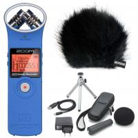 Zoom H1 BL Handy Recorder Blau + APH-1 Zubehörset + KEEPDRUM Fell-Windschutz-22