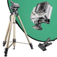 Mantona Green Screen Set für GoPro Kamera inkl. Kamerastativ, Stativadapter und Hintergrund Grün-22
